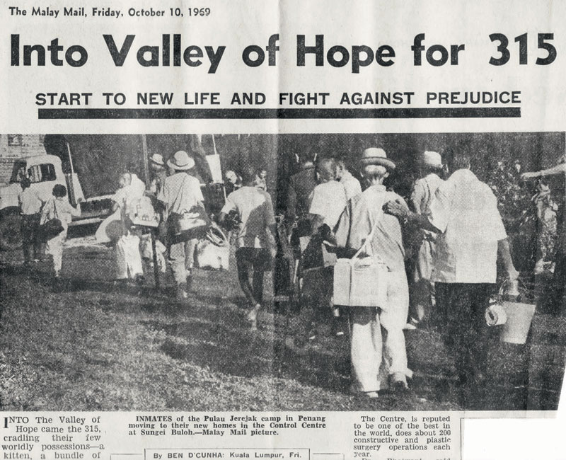A 1969 newspaper article reports that 315 leprosy patients moved from Pulau Jerejak to Sungai Buloh.