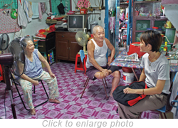 The author chatting with Tan Cheng Hoe and his neighbor.